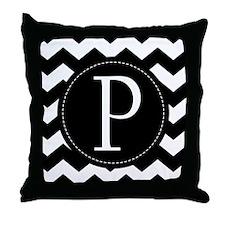 Chevron Monogram Letter P Throw Pillow