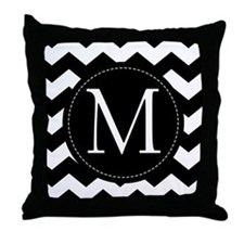 Chevron Monogram Letter M Throw Pillow