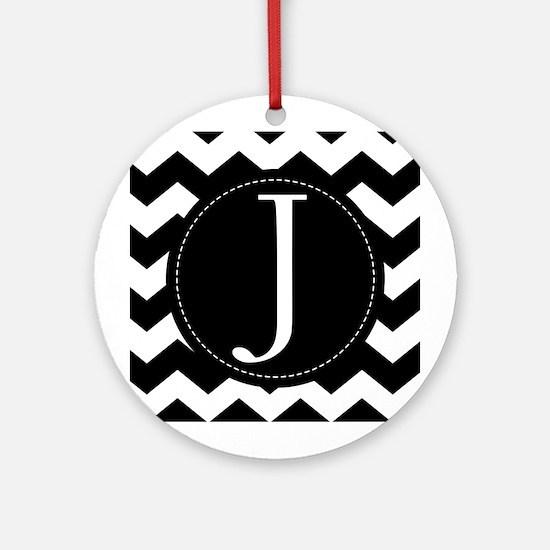 Chevron Monogram Letter J Ornament (Round)