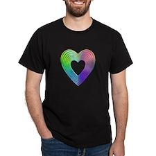 3-D Multi-colored Rainbow Heart T-Shirt
