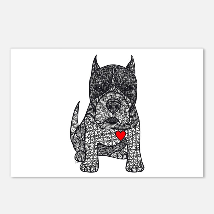 Devotion -American Pitbull Terrier 2 Postcards (Pa