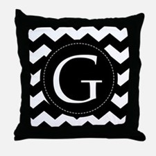 Chevron Monogram Letter G Throw Pillow