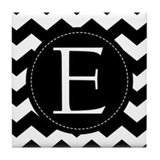 Chevron Monogram Letter E Tile Coaster