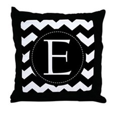 Chevron Monogram Letter E Throw Pillow