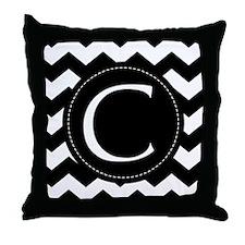 Chevron Monogram Letter C Throw Pillow