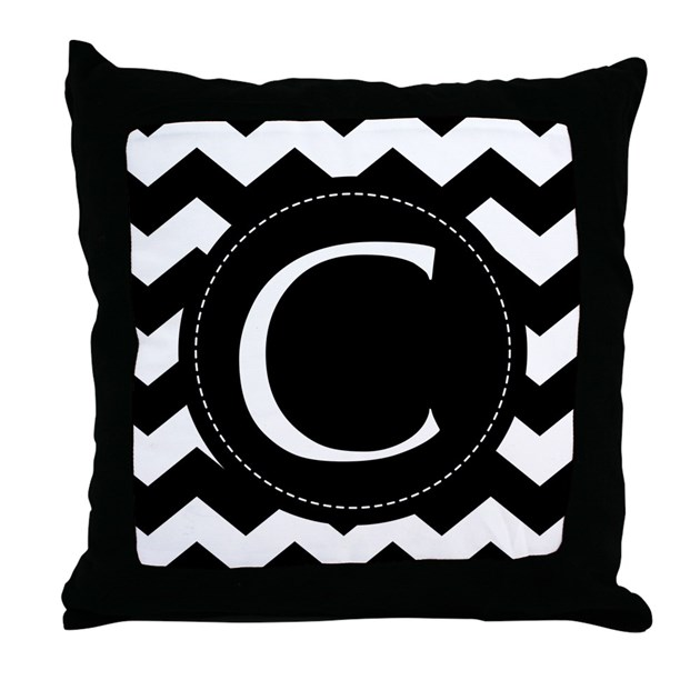 Chevron Monogram Letter C Throw Pillow by milestonesmonogramtshirts