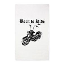 Born To Ride Motorcycle 3'x5' Area Rug