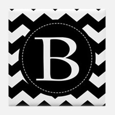 Chevron Monogram Letter B Tile Coaster