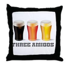 Three Amigos Beer Throw Pillow