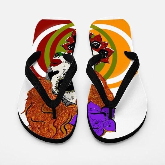 Sugar Skull Beauty w/background Flip Flops