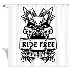 Ride Free Skull Shower Curtain