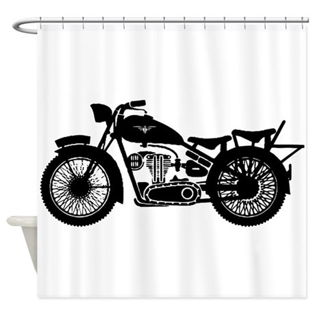 Vintage Motorcycle Shower Curtain by MotorcycleBiker