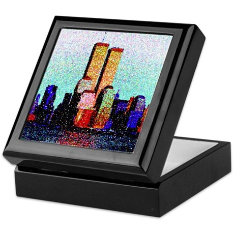 World Trade Center -Ceramic tile top, keepsake box