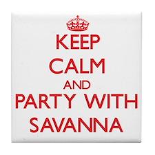 Keep Calm and Party with Savanna Tile Coaster