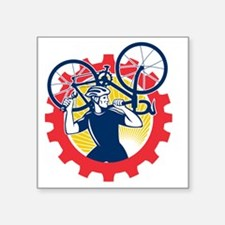 "Cyclist Bicycle Mechanic Ca Square Sticker 3"" x 3"""