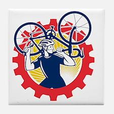 Cyclist Bicycle Mechanic Carrying Bik Tile Coaster