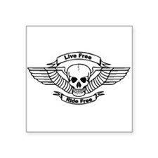 Live Free Ride Free Wings Skull Sticker