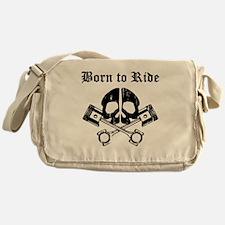 Born To Ride Biker Skull Messenger Bag