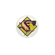 Catfish Mud Cat Polliwog Jumping Retro Mini Button