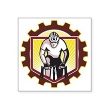 "Cyclist Riding Bicycle Cycl Square Sticker 3"" x 3"""