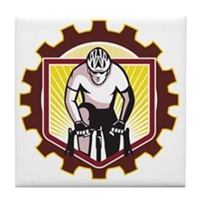 Cyclist Riding Bicycle Cycling Front  Tile Coaster