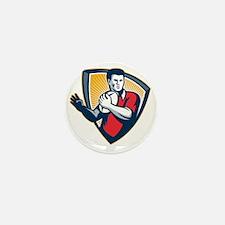 Rugby Player Running Ball Shield Retro Mini Button