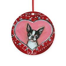 Boston Terrier Valentine xoxo Ornament (Round)