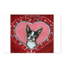 Boston Terrier Valentine xoxo Postcards (Package o