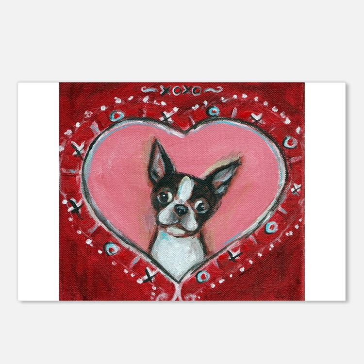 Boston Terrier Valentine xoxo Postcards (Package o