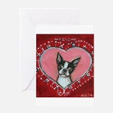 Boston Terrier Valentine xoxo Greeting Cards