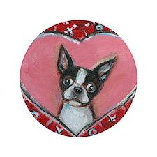 "Boston Terrier Valentine xoxo 3.5"" Button (100 pac"