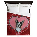 Valentine boston terrier Duvet Covers