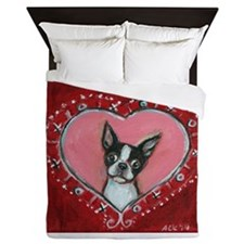 Boston Terrier Valentine xoxo Queen Duvet