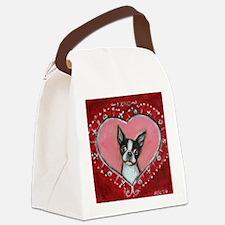 Boston Terrier Valentine xoxo Canvas Lunch Bag