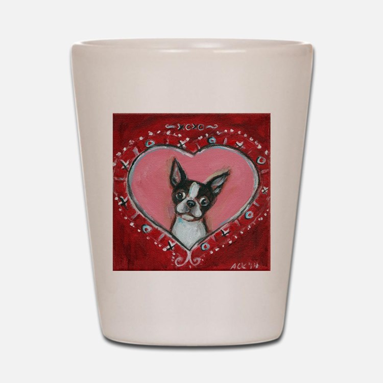 Boston Terrier Valentine xoxo Shot Glass
