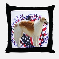 Borzoi Patriotic Throw Pillow