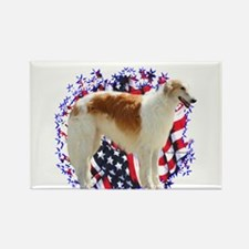 Borzoi Patriotic Rectangle Magnet