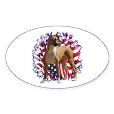 Boxer Patriotic Oval Decal