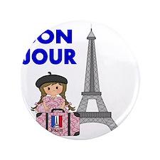 """BON JOUR WITH LITTLE GIRL IN PARIS 3.5"""" Button"""