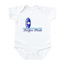 Surfer Dude Blue Surf Board baby Bodysuit