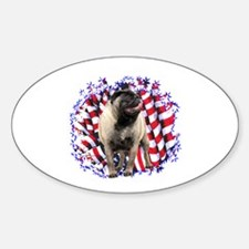 Pug Patriotic Oval Decal