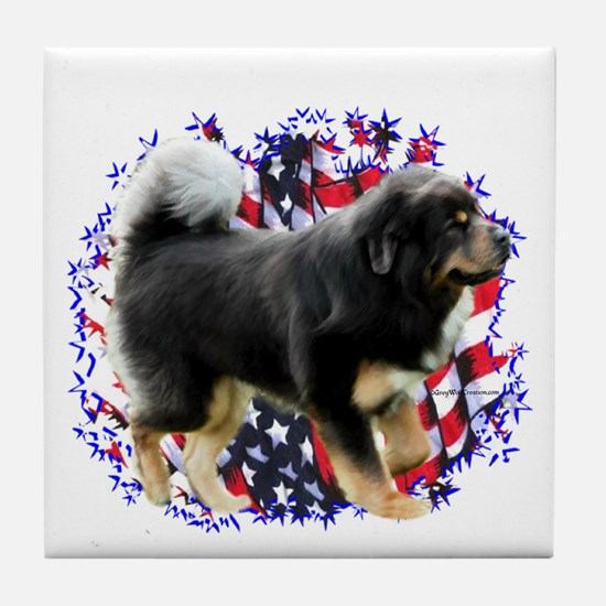 Tibetan Mastiff Patriotic Tile Coaster
