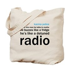 OK Computer Karma Police words blue and b Tote Bag