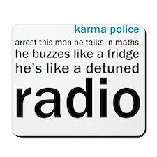 OK Computer Karma Police words blue and  Mousepad