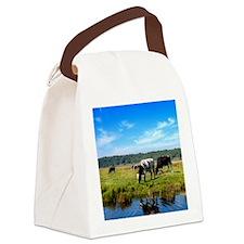 Beautiful Cow Landscape Canvas Lunch Bag