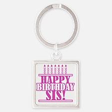 Happy Birthday Sister Square Keychain