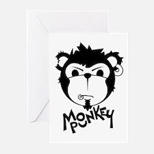 MONKEYPUNK 001 - BLACK Greeting Cards (Package of
