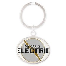 My Car Is Electric copy Oval Keychain