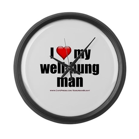 """Love My Well-Hung Man"" Large Wall Clock"
