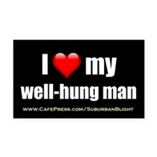 """Love My Well-Hung Man"" Rectangle Car Magnet"